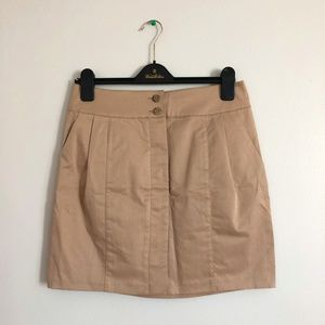 Club Monaco Pleated Skirt Tan